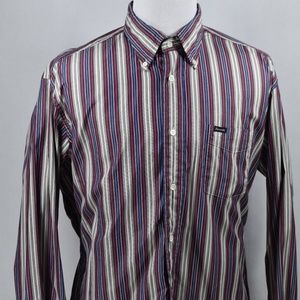 Faconnable Mens Classique Maroon/Blue/Gray XL LSS